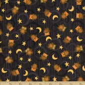 Scaredy Cats Owls Over the Moon Cotton Fabric - Black