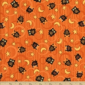 Scaredy Cats Owls Over the Moon Cotton Fabric - Orange