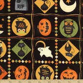 Scaredy Cats Patches Cotton Fabric - Black