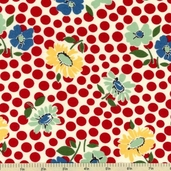School Days Floral Recess Cotton Fabric - Apple Red