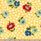 School Days Floral Recess Cotton Fabric - Yellow 21612-14 - Clearance