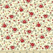 School Days Teachers Bouquet Cotton Fabric - Manilla - Clearance