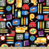 Schoolies Kids Cotton Fabric - Black Y1073-3