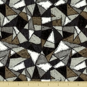 Scraffito Cotton Fabric - Angles - Grey