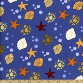 Sea Breeze Stars And Shells Cotton Fabric - Blue