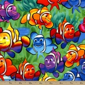 Sea Life Clownfish Flannel Fabric