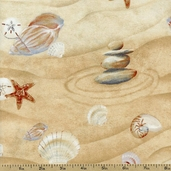 Sea of Tranquility Shells Cotton Fabric - Sand 1672-82589-122S