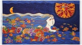 Sea Spirits Sun Panel Metallic Cotton Fabric - Blue