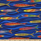 Sea Spirits Swimming Fish Metallic Cotton Fabric - Blue