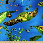 Sea Turtles Cotton Fabric - Blue MICHAEL-C9986