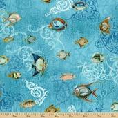 Seascape Fish Cotton Fabric - Aquarius / Gold