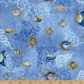 Seascape Fish Cotton Fabric - Pacific / Silver