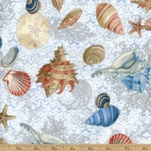 Seascape Shell Cotton Fabric - Pacific / Silver