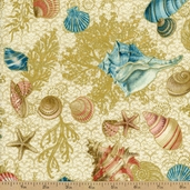 Seascape Shell Cotton Fabric - Sand / Gold