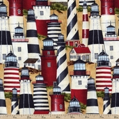 Seaside Escape Packed Lighthouses Cotton Fabric - Red