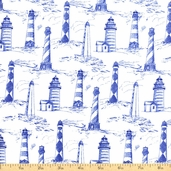 Seaside Lighthouses Cotton Fabric - White