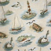 Seaside Upholstery Fabric - 6 in. - Multi Color - Clearance