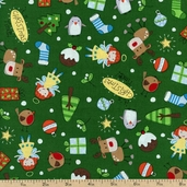 Season's Greetings Allover Cotton Fabric - Green 103-21516