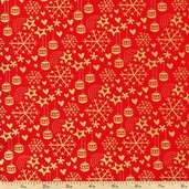 Season's Greetings Snowflakes Cotton Fabric - Red 103-21802