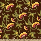 Secret Garden Floral Cotton Fabric - Brown