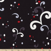 Seeing Red Nice Curves Cotton Fabric - Black