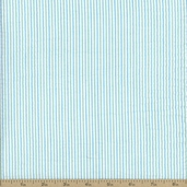Seersucker Check Stripe Cotton Fabric - Mint