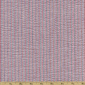 Seersucker Stripe Check Cotton Blend Fabric - Americana