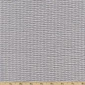 Seersucker Stripe Check Cotton Blend Fabric - Grey