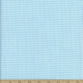Seersucker Stripe Check Cotton Fabric -Sky