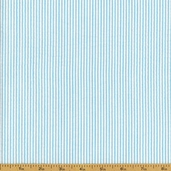 Seersucker Stripe Cotton Blend Fabric - Sky