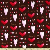 Sending My Love Cotton Fabric - Brown 5961-33