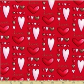 Sending My Love Cotton Fabric - Red 5961-88