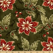 Sentiments Cotton Fabric - Olive 4082-13