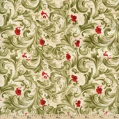 Sentiments Leafy Floral Cotton Fabric - Cream 4086-11