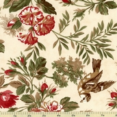 Sentiments Ornamental Poinsettia Cotton Fabric - Parchment