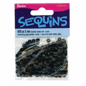 Sequins 5mm - Black - Pkg of 6