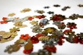 Sequins Leaf Shape Mix - copper / Gold / Silver - Clearance Pkg of 6