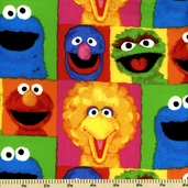 Sesame Street Blocks Cotton Fabric 22803