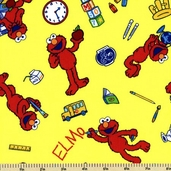Sesame Street Elmo Cotton Fabric - Yellow 22607