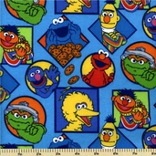 Sesame Street Flannel Fabric - Light Blue 21032