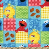 Sesame Street Grid Flannel Fabric - Blue