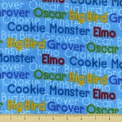 Sesame Street Name Flannel Fabric - Blue