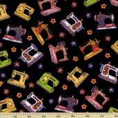 Sew Be It Cotton Fabric - Sewing Machines - Black 5968-99