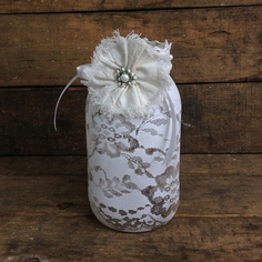 Shabby Chic Lace Jar
