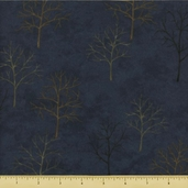 Shaded Oaks Northwoods Silhouettes Flannel Fabric Autumn Blue 6480-12F