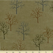 Shaded Oaks Northwoods Silhouettes Flannel Fabric - Light Green 6480-11F