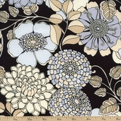 Shades of Grey Large Floral Cotton Fabric - Black 3947-8827-8