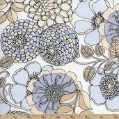 Shades of Grey Large Floral Cotton Fabric - White 3947-8827-9