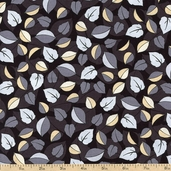 Floral Fabric in Shades of Grey Leaves Cotton Fabric - Black 3947-60663-8