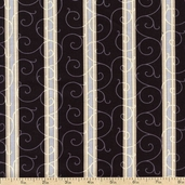 Floral Fabric in Shades of Grey Leaves Cotton Fabric - Black 3947-60664-8